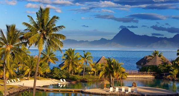 Have a rest near the ocean at sunset in Polynesia. Tahiti.