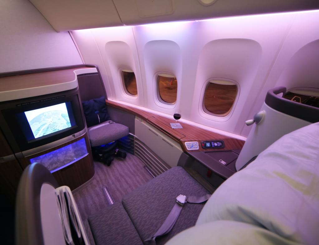First class pods on Cathay Pacific (all photos: Leonard Hospidor)