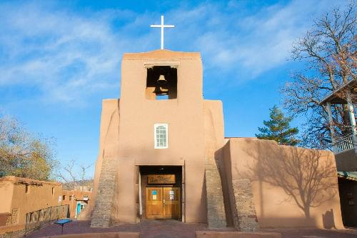 San Miguel Mission at sunset, Santa Fe, New Mexico