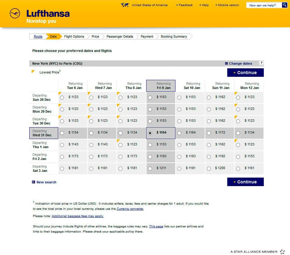 Booking a ticket for New Year with Lufthansa
