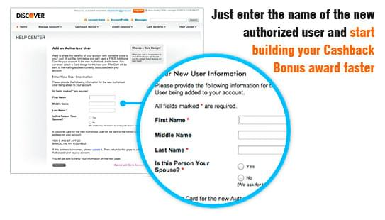 Adding an authorized user to your Discover® Card
