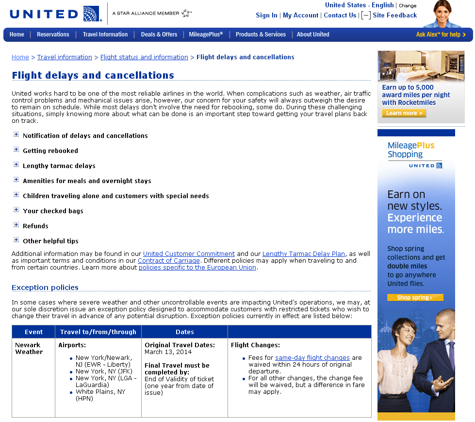 United cancellations