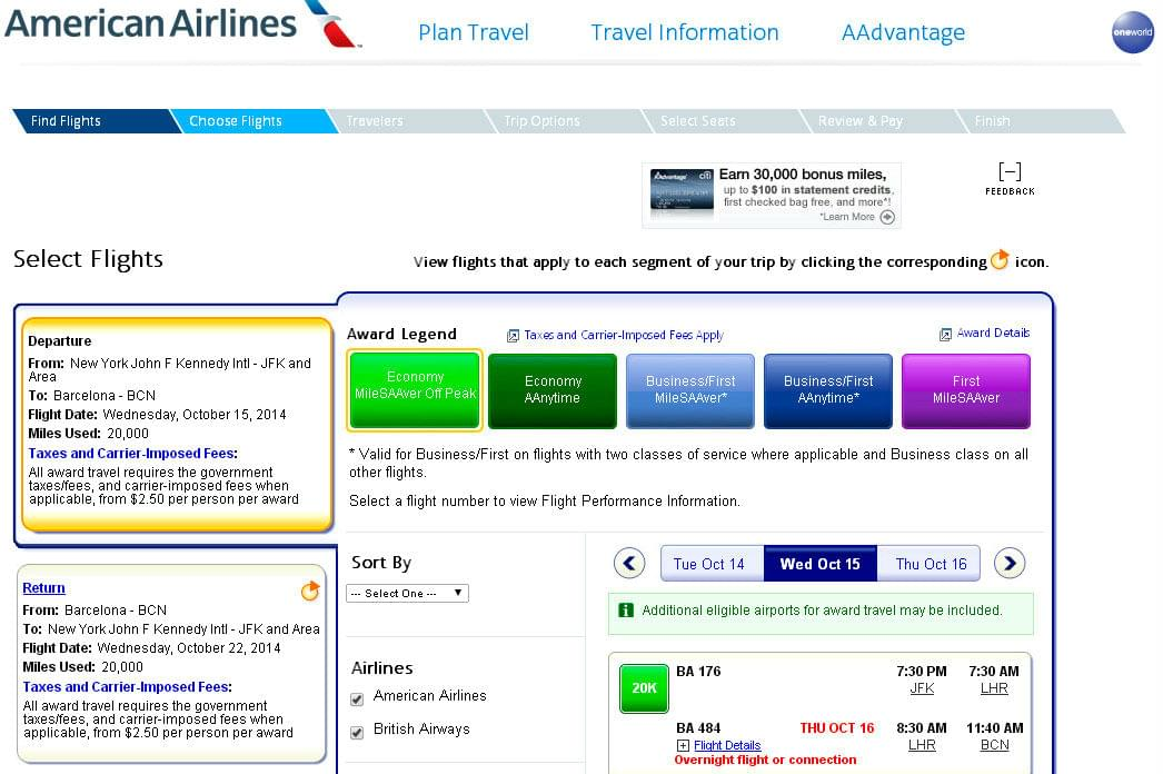 Booking award ticket on AA.com