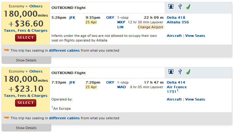 Added fuel surcharges on Delta flights