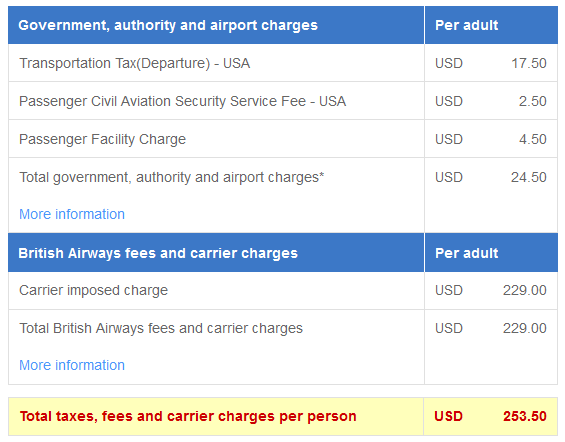British Airways fee breakdown