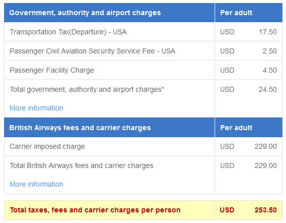 British Airways fee breakdown