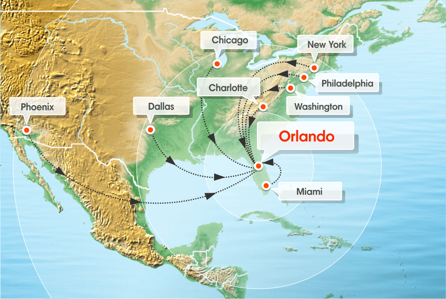 Nonstop flights to Orlando