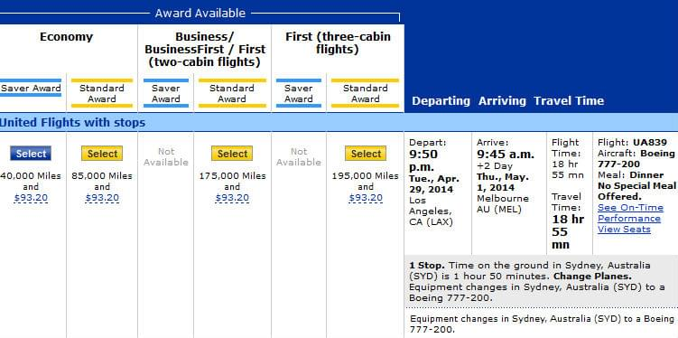 Booking an award ticket with United