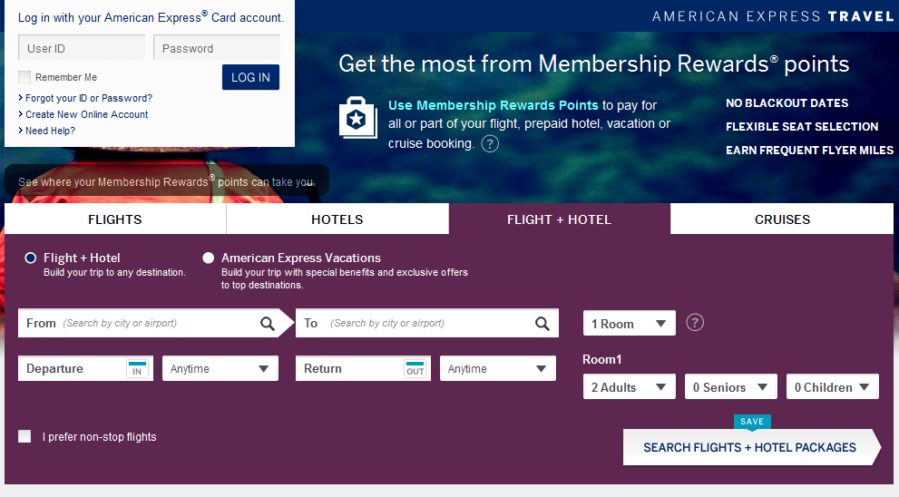 Book flight and hotel with Membership Rewards