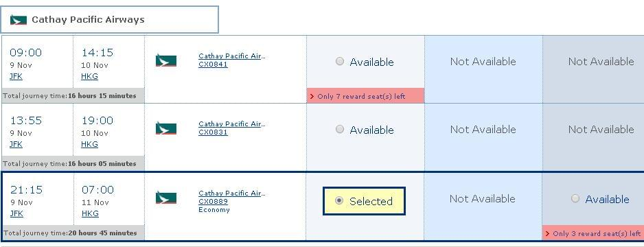 Reward seats availability for JFK - HKG flight