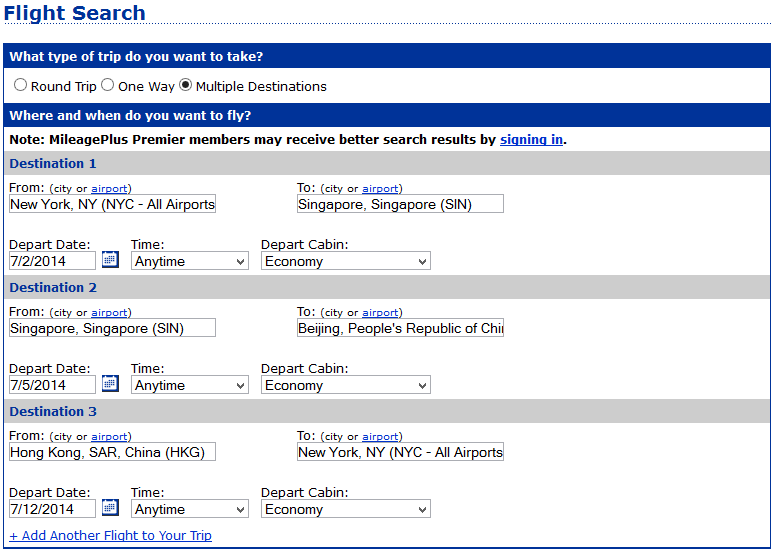 United's Multiple Destinations tool