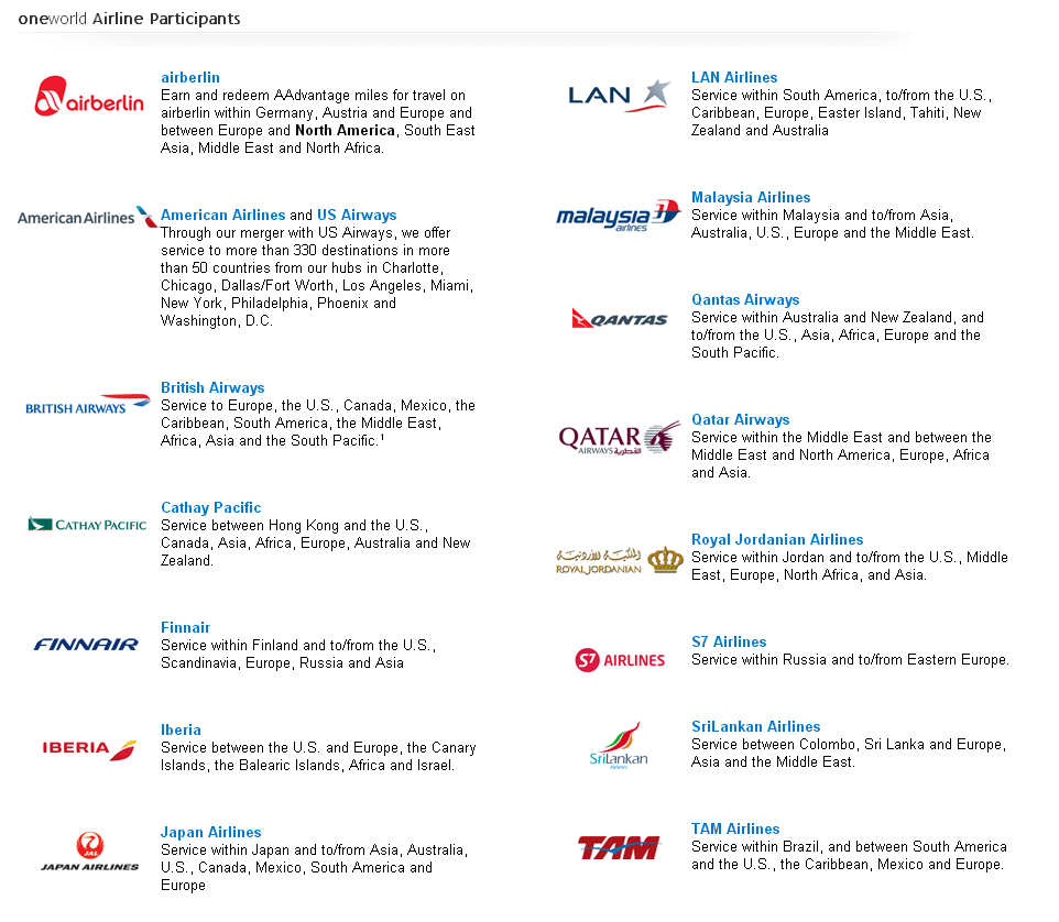 American Airlines airline partners