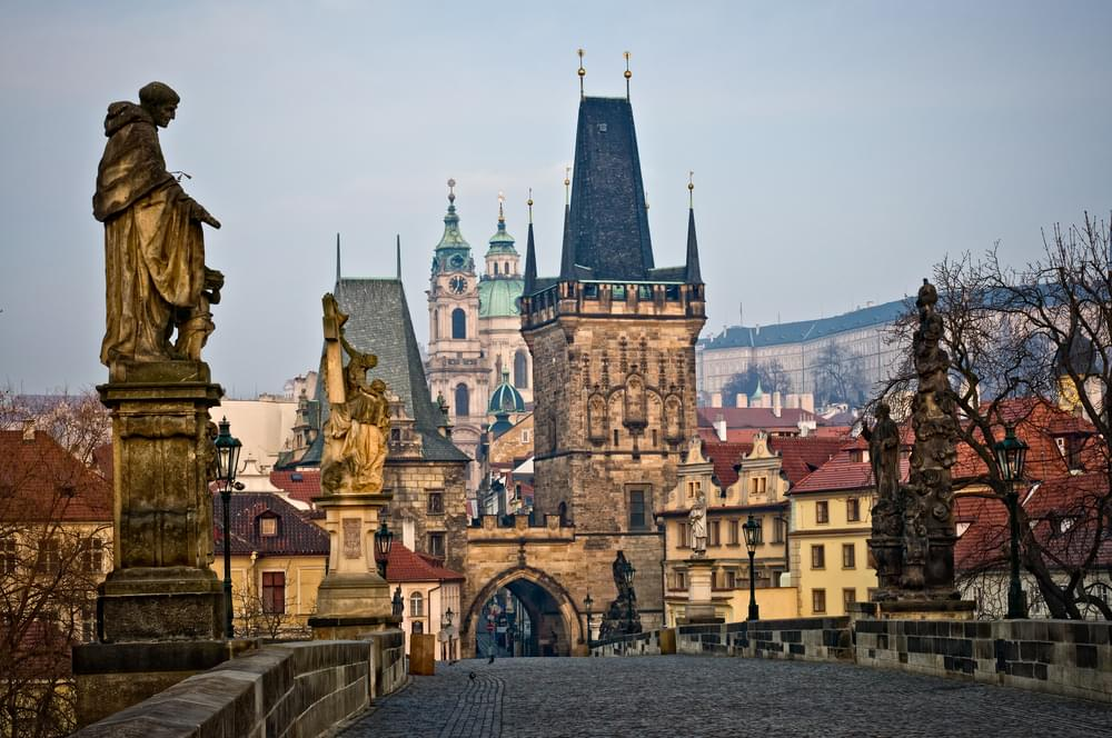 Lesser Bridge tower of Charles Bridge in Prague