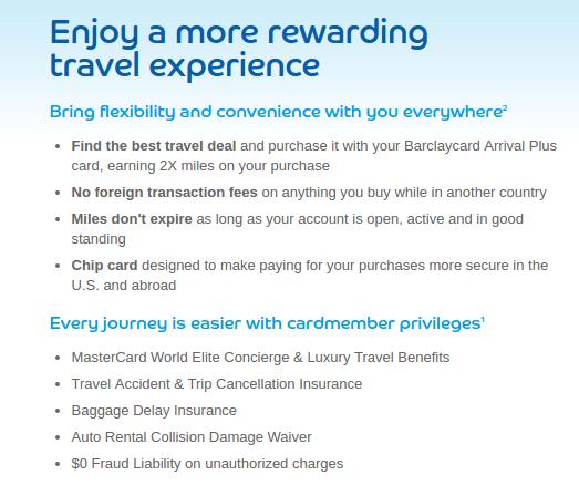 Barclaycard Arrival program perks
