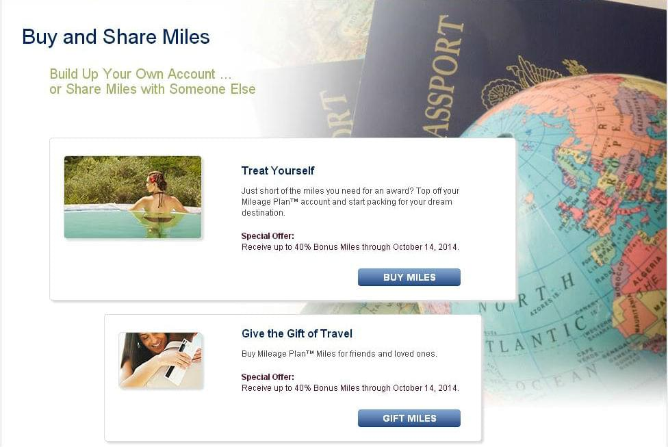 Purchase miles with Alaska Airlines