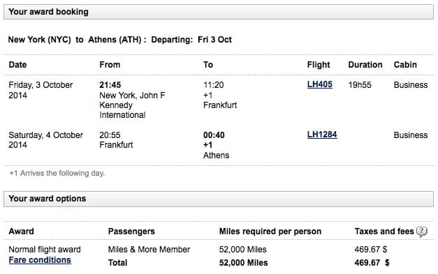 Lufthansa award booking