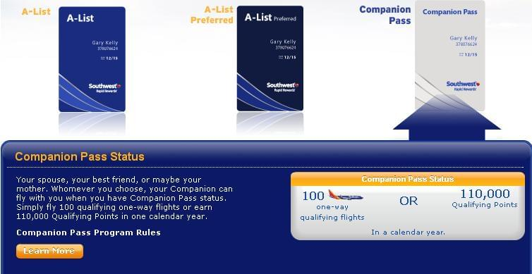 Companion Pass status benefit