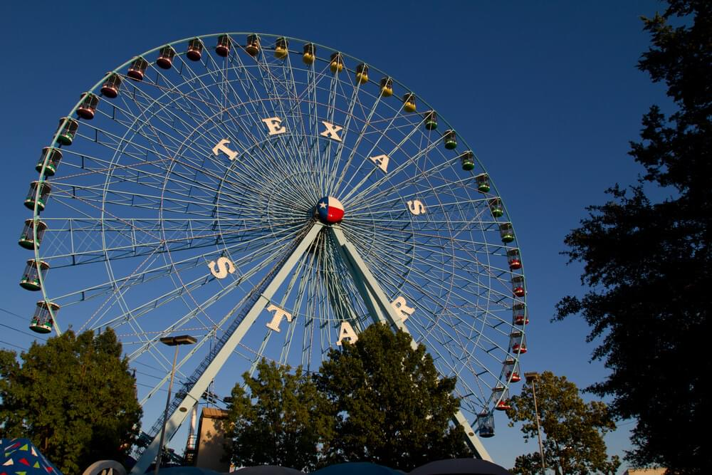 Texas Star is a Ferris wheel at Fair Park in Dallas