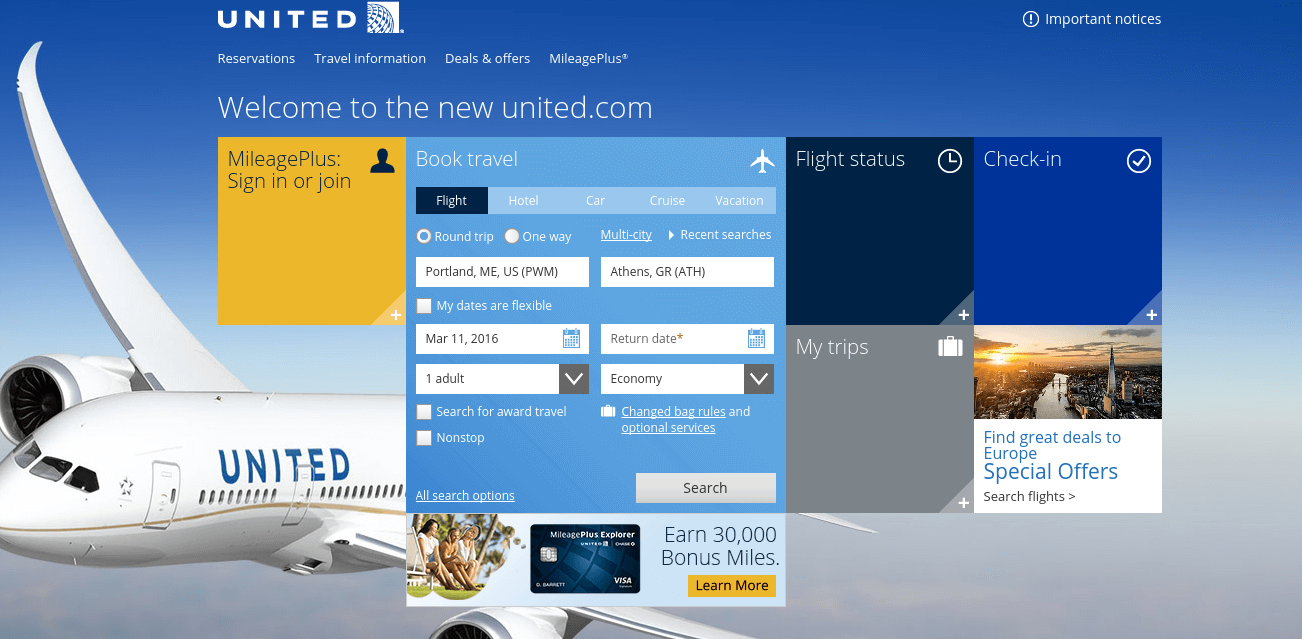 Search for United MileagePlus Seats Online