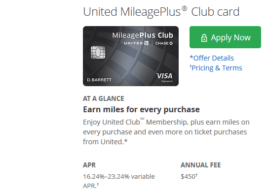 MileagePlus Club Card credit card