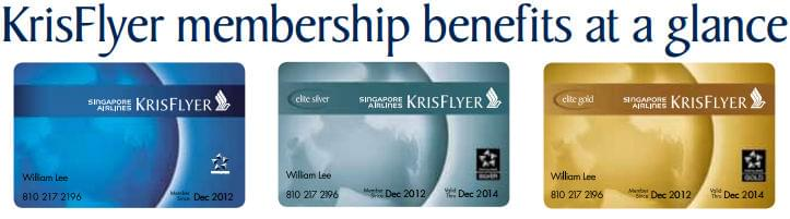 KrisFlyer Elite Levels membership cards