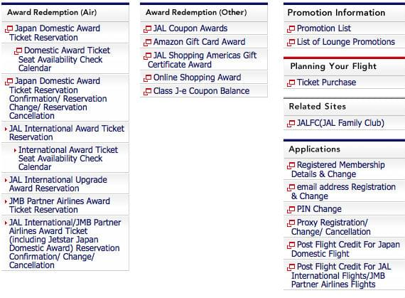Search for JAL Award Seats Online