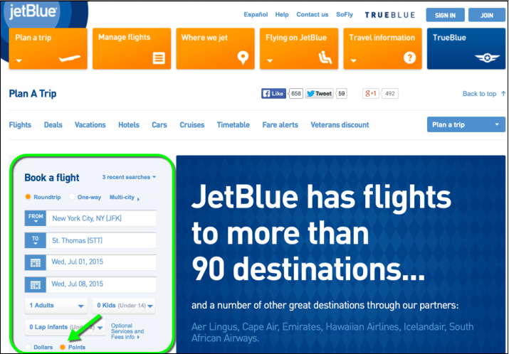 87bb12badfad JetBlue will show you a calendar for award travel three days before and  after your preferred dates. You can see which days have award tickets  available for ...