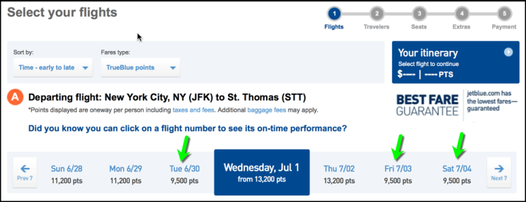 49a542c0b373 JetBlue will show you a calendar for award travel three days before and  after your preferred dates. You can see which days have award tickets  available for ...