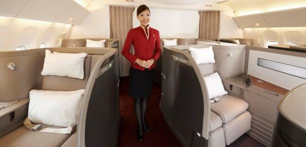 Cathay Pacific first-class cabin
