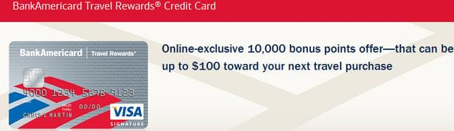 BankAmericard Travel Rewards card has no annual fee and no charges on foreign transactions