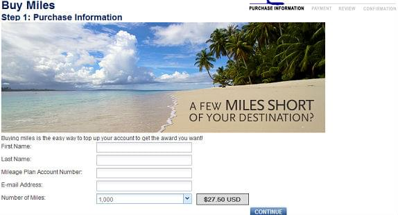 Buying miles with Alaska airlines: Step 1