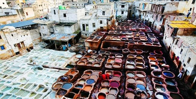 Traditional leather tanneries in the medina, Fez