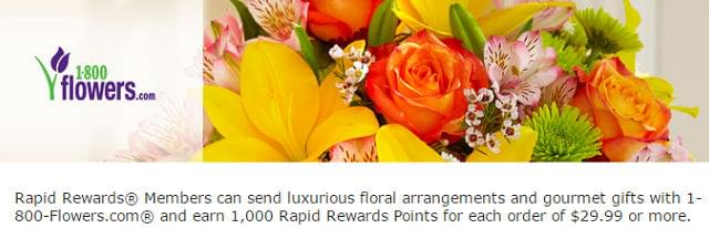 1800Flowers is offering Rapid Rewards bonus points