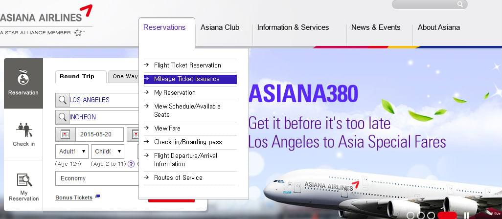 How To Book Asiana Airlines Asiana Club Awards