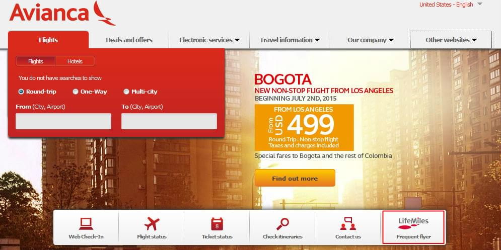 Avianca-homepage