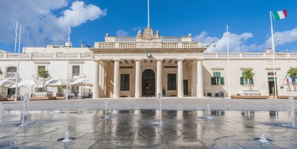 Former Main Guard building situated in St George's square facing the Grand Masters Palace in Valletta, Malta