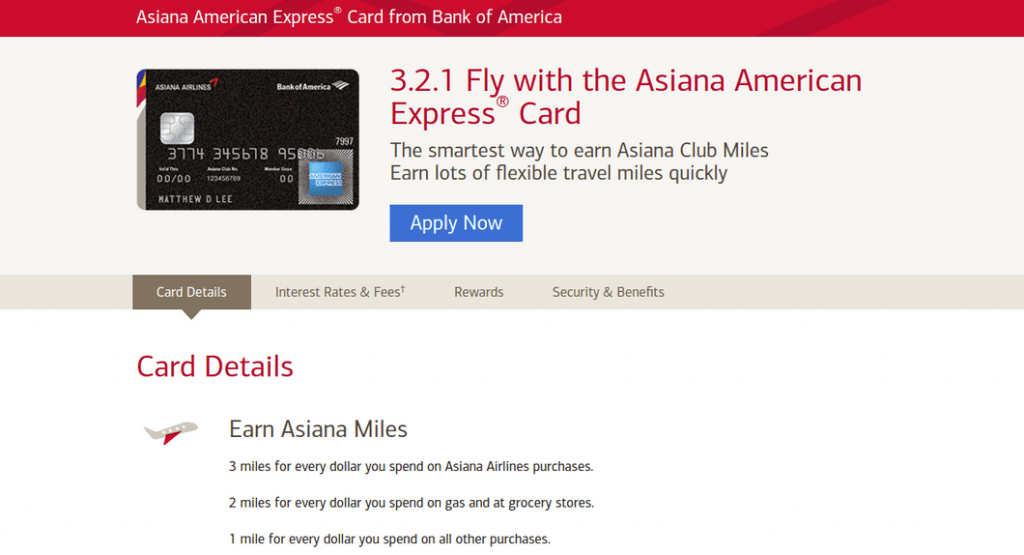 Earn Miles with Asiana Airlines American Express Card