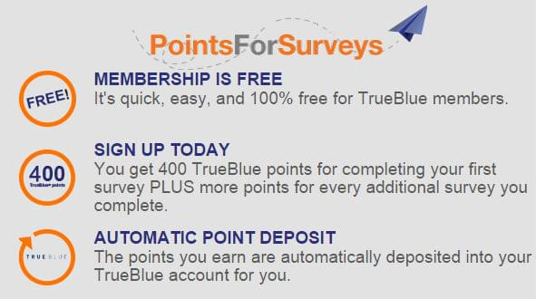 Complete a survey and get 400 TrueBlue points