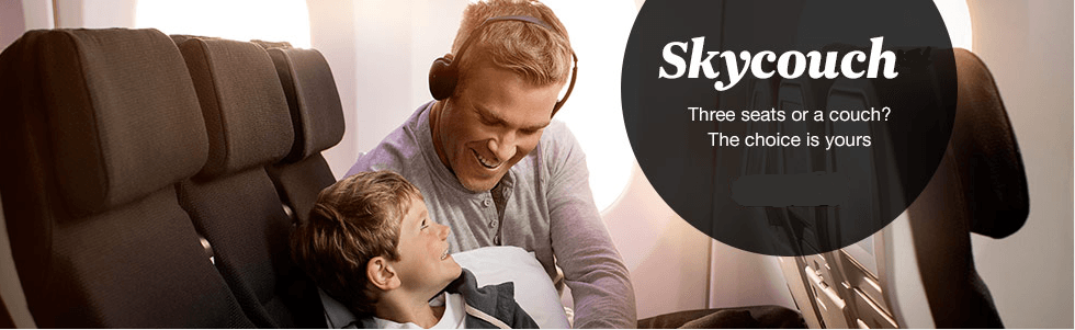 Economy class Skycouch from Air New Zealand