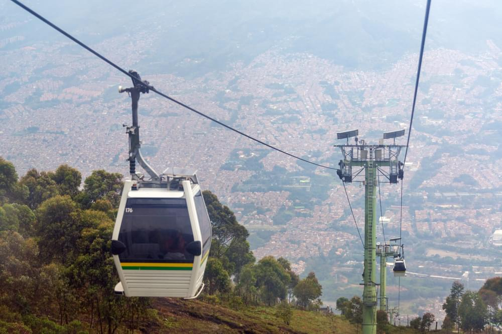 The Metrocable in the hills above Medellin