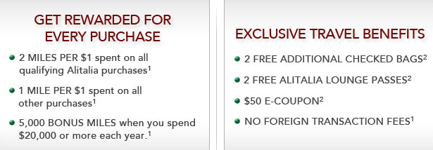 Alitalia Amex cardholder benefits