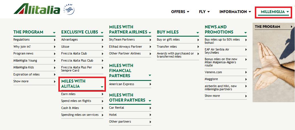 Alitalia homepage