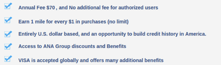 Features of the ANA Card U.S.A.