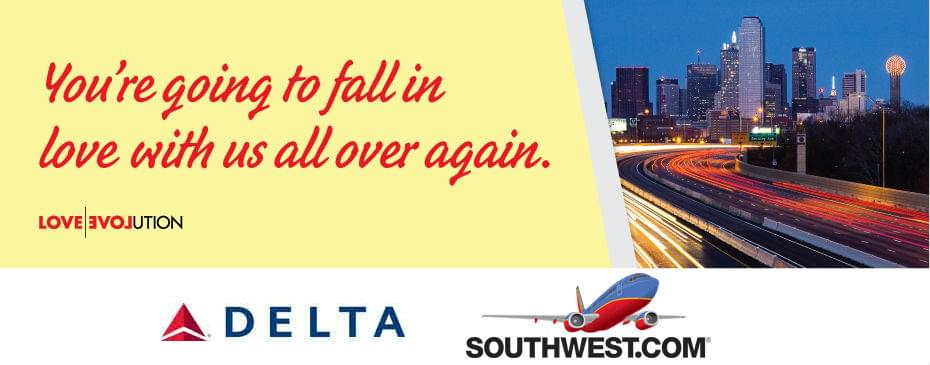 Southwest and Delta share gate space at Dallas Love Field