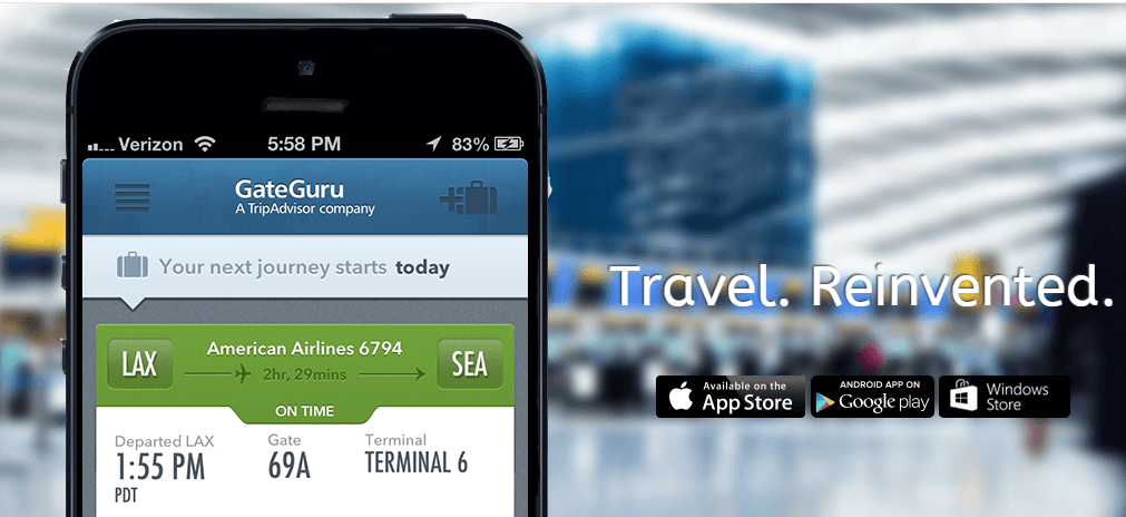 Use GateGuru to track flights, find airport information and book car rentals