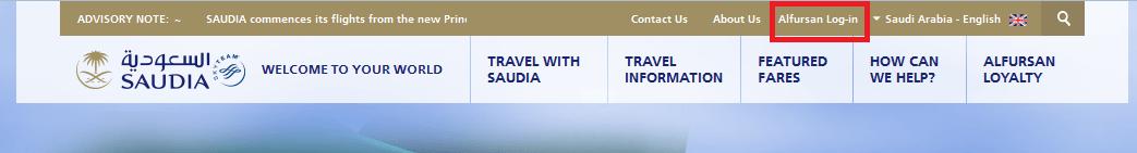 Saudia homepage