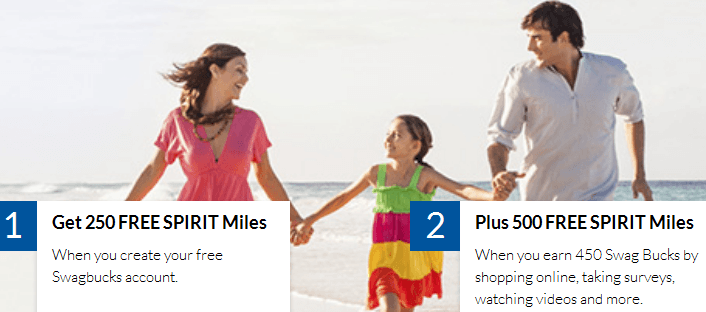 Earn up to 750 Spirit  miles from Swagbucks