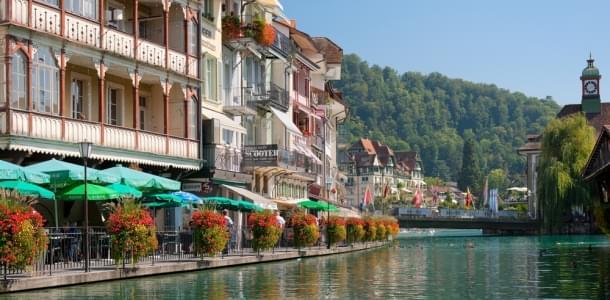Riverside cafes and restaurants in Zermatt