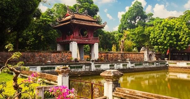 KhueVanCac - One of the gates at the Temple of Literature, Van Mieu in Hanoi, Vietnam. Khuevancac is symbol of Hanoi capital, Vietnam