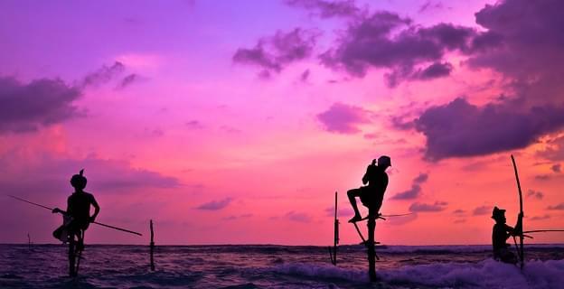 Traditional Sri Lankan fisherman in the Indian ocean